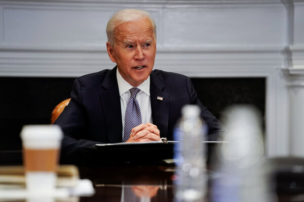 President Biden at the White House this month. He addressed military officials virtually on Friday.
