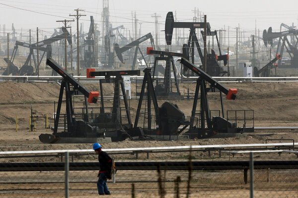 Pumpjacks operating in Bakersfield, Calif. Gov. Gavin Newsom announced on Friday that he would halt all new fracking permits in the state by January 2024.
