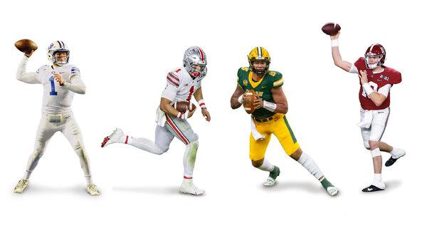 Zach Wilson della Brigham Young University, Justin Fields dell'Ohio, Trey Lance dello Stato del North Dakota e Mac Jones dell'Alabama sono i titolari del campo del quarterback dietro la scelta n. 1 prevista, Trevor Lawrence of Clemson.