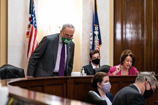 """Senator Chuck Schumer of New York, the majority leader, at a hearing on the """"For the People Act"""" with the Senate Rules and Administration Committee on Capitol Hill last month."""