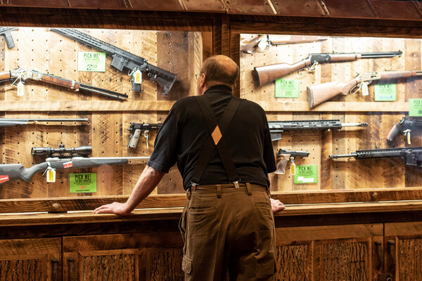 A case of firearms at the National Rifle Association's annual meeting in Indianapolis in 2019. With a newly expanded conservative majority, the Supreme Court's calculus on Second Amendment appeals may have changed.