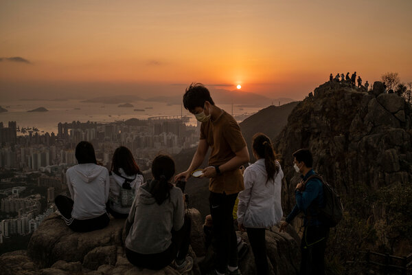 Hikers at Lion Rock in Hong Kong in January.