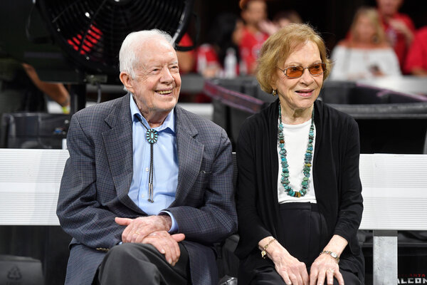 Former President Jimmy Carter and Rosalynn Carter in Atlanta in 2018. President Biden plans to meet with the Carters as part of a trip to Georgia this week.
