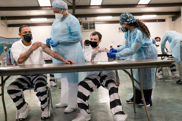 Prisoners received Covid-19 vaccine shots in April at the Bolivar County Correctional Facility in Cleveland, Miss.
