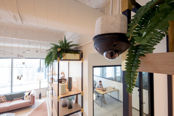 A security camera with machine-learning abilities at a co-working space at 717 Texas Avenue in Houston.