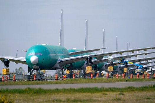 Boeing 777X jets at the company's production facility in Everett, Wash.Boeing said it continued to expect the recovery to take years to unfold.