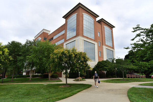 A student at Forsyth Tech Community College campus in Winston-Salem, N.C.