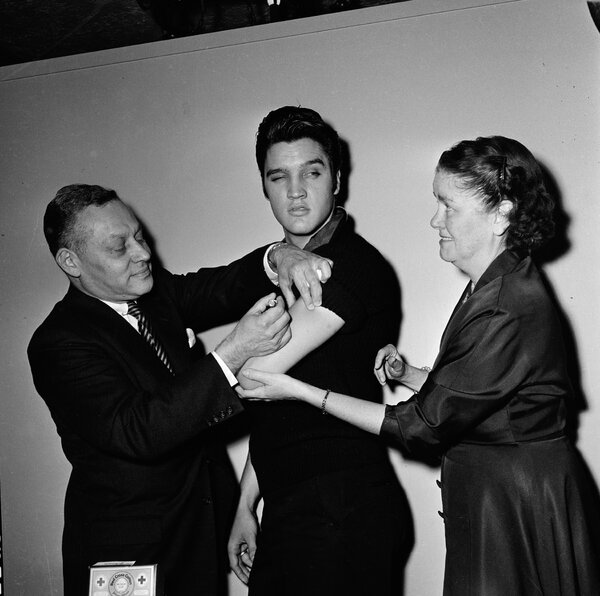 "Elvis Presley received the polio vaccine backstage at the ""The Ed Sullivan Show"" in 1956."