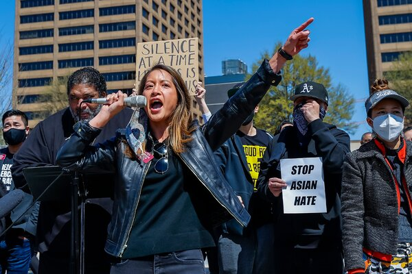 Bee Nguyen, 39, a state representative who is the child of Vietnamese refugees, at a rally against anti-Asian violence in Atlanta in March. She is the first major Democratic candidate to challenge the incumbent secretary of state, Brad Raffensperger.