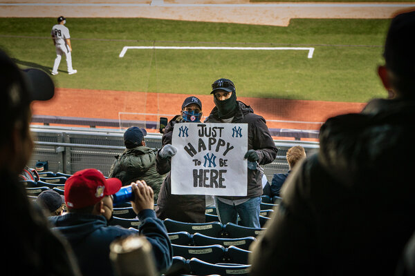 New York Yankees fans at a game in April.