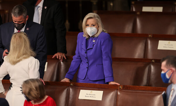 """Representative Liz Cheney, Republican of Wyoming, at the Capitol last week.""""This moment is about much more than a House leadership fight,"""" her spokesman said."""