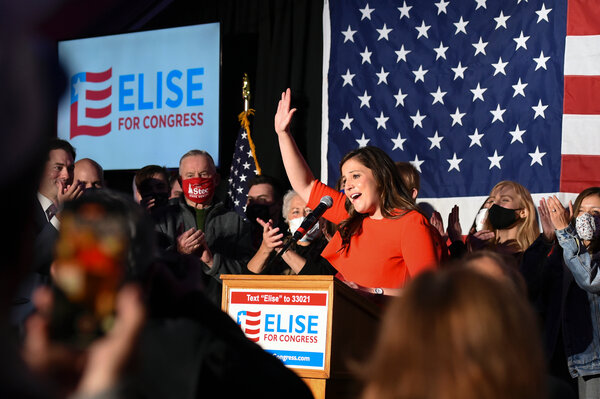 Rep. Elise Stefanik at her election night victory party last November. Ms. Stefanik has echoed Trump's falsehoods of rampant voter fraud, and voted to overturn the election results on Jan. 6.