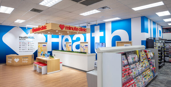 A CVS health clinic in Spring, Tex. The pharmacy chain has started including mental health services in some of its stores.