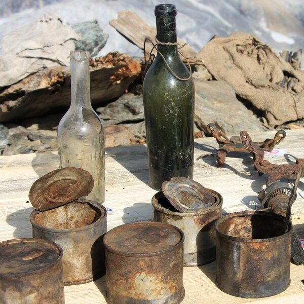 Cans and bottles were left behind when the barracks were abandoned in 1918.