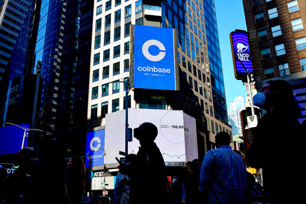 Watching Coinbase's I.P.O. from Times Square in New York last month. Some of the biggest spenders on lobbying include Ripple, Coinbase and trade groups like the Blockchain Association.