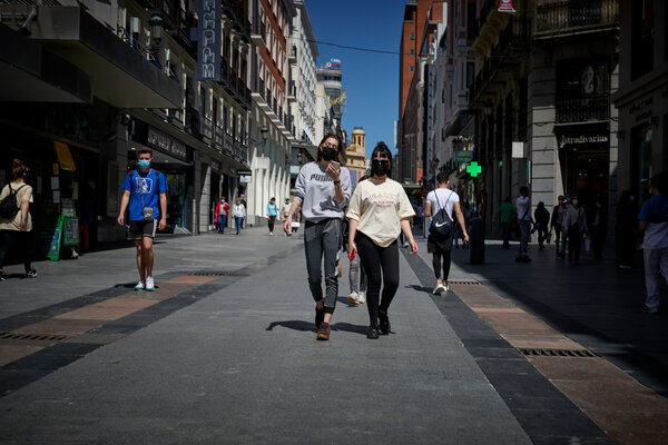 Madrid on Friday. The country's state of emergency is set to expire at midnight on Sunday.