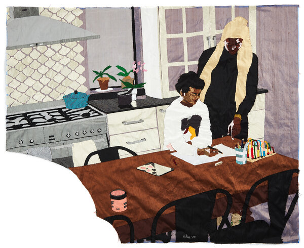 """Ms. Zangewa's tapestry """"Heart of the Home,"""" depicts her and her son in their kitchen. """"This is very much a post-Covid image of life, where domestic space has taken on so many different functions,"""" she said."""
