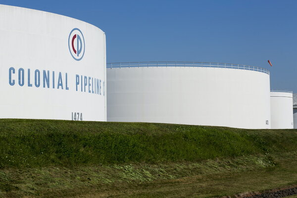 Colonial Pipeline fuel tanks in Woodbridge, N.J. The company's pipeline carries nearly half the fuel supplies for the East Coast.