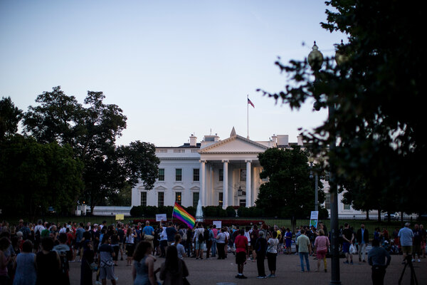 Supporters of L.G.B.T.Q. rights protested outside of the White House in 2017.