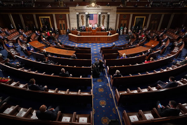 President Biden addressing a joint session of Congress last month. Democrats control both the House and Senate by very narrow margins.