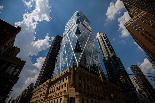 Hearst Tower in New York. The company has sold the United States edition of Marie Claire to the British publisher Future.