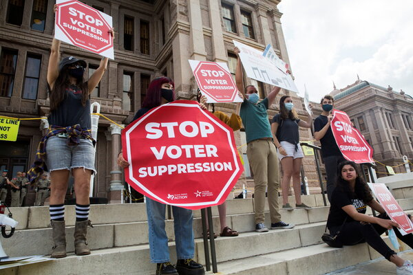 A protest in Austin, Texas, last week against Republican state legislators' efforts to restrict voting rights.
