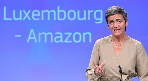 Margrethe Vestager, an executive vice president at the European Commission, announcing Amazon's 0 million tax bill in 2017.