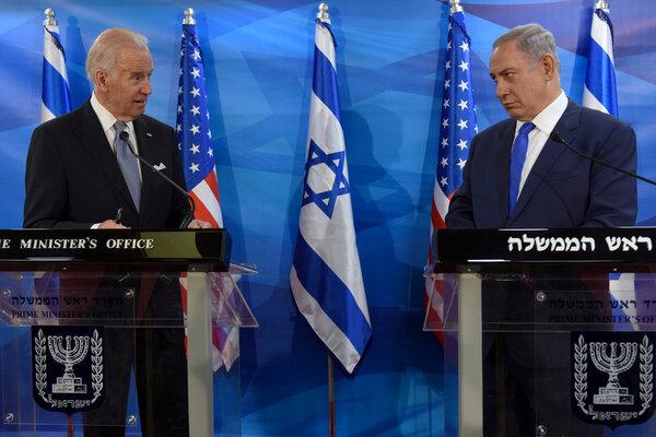 President Biden, as vice president in 2016, with Prime Minister Benjamin Netanyahu of Israel in Jerusalem.