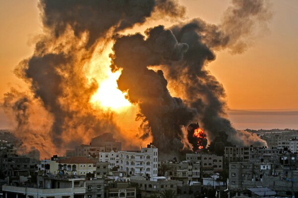 An Israeli airstrike in Khan Yunis in the southern Gaza Strip early Wednesday.