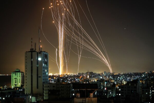 Rockets launched from Gaza City into Tel Aviv on Tuesday.