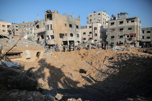 The aftermath of an Israeli airstrike in Gaza City on Thursday.