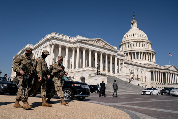 National Guard members outside the Capitol in March. Democrats are planning a vote on a bill that wouldprovide $1.9 billion to bolster the Capitol's defenses.