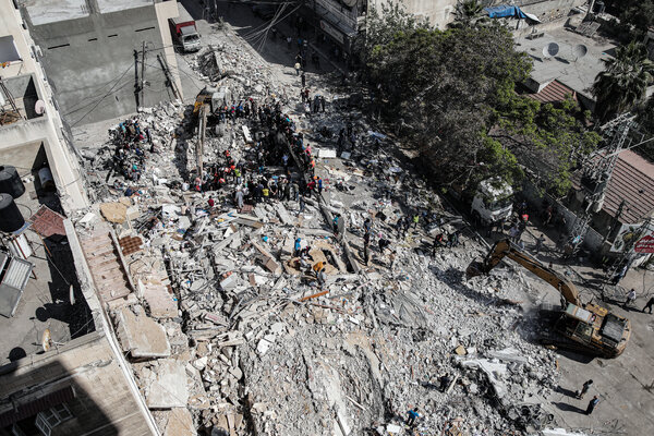 A building in Gaza City collapsed, killing more than 40 people, after an airstrike that Israel said was targeted at military tunnels beneath.