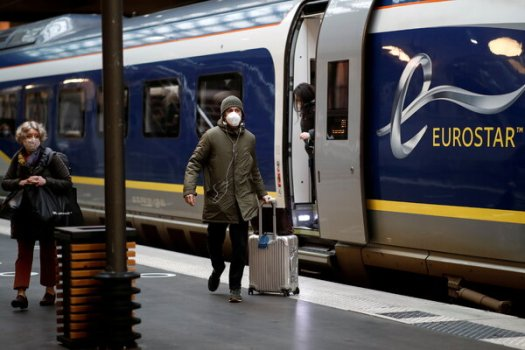 A Eurostar passenger train at the Gare du Nord station in Paris. The company has started to restore rail service between Britain and France.