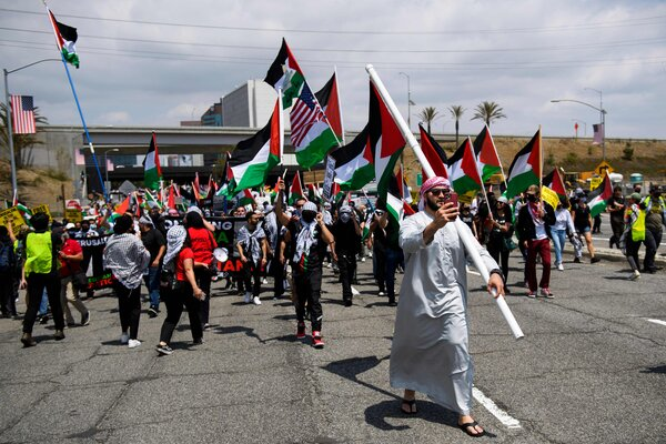 Protestors marched in Los Angeles, demonstrating in support of Palestine, Saturday.