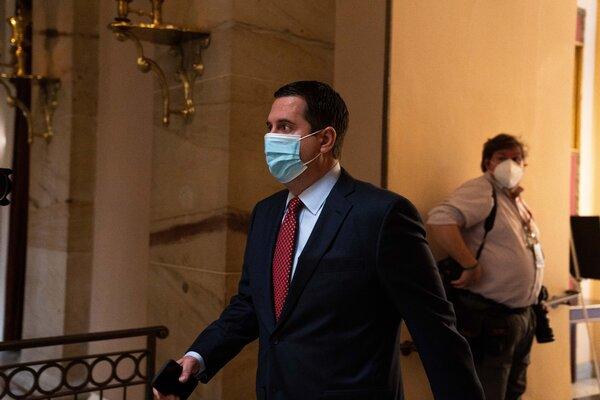 Rep. Devin Nunes, Republican of California, walks through the U.S. Capitol Building in Washington in early January, 2021.