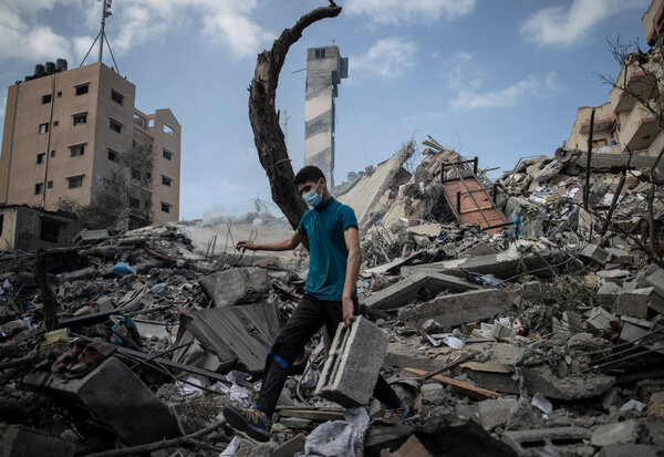 A Gaza City building destroyed by an early morning Israeli airstrike on Tuesday.