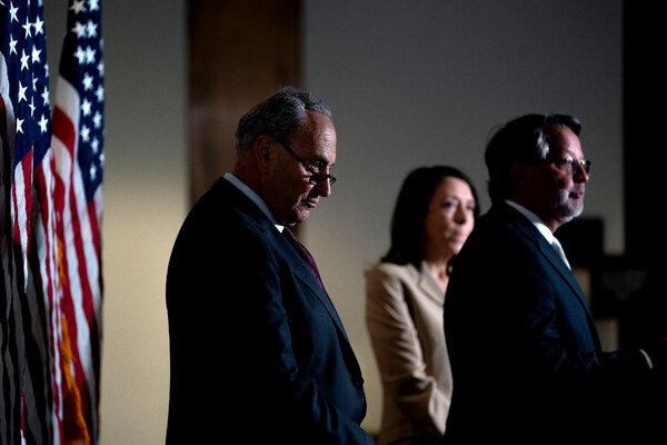 Both Senator Chuck Schumer, Democrat of New York and the majority leader, left, and Senator Gary Peters, Democrat of Michigan, support the Endless Frontier Act.