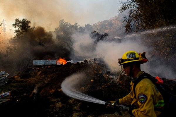 The Bond fire burning through Orange County, Calif., in December.