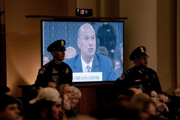 Gordan Sondland testified that President Donald J. Trump told him to pressure Ukrainian officials to conduct investigations into Mr. Trump's political rivals.