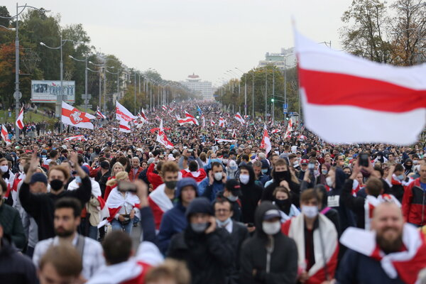 An opposition rally to reject the presidential election results and to protest against the inauguration of President Aleksandr G. Lukashenko in Minsk, Belarus, in 2020.