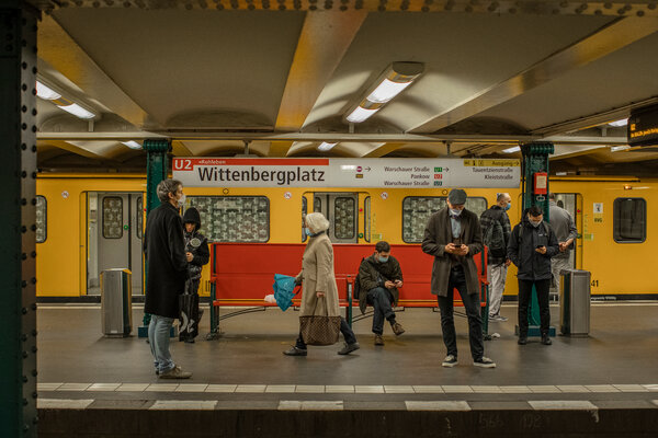 Commuters inside a Berlin subway station earlier this month. A survey found rising confidence in the German economy.