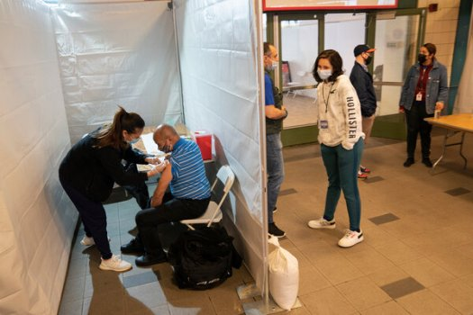 A pop-up vaccination site at the Coney Island-Stillwell Avenue subway station in New York this month.
