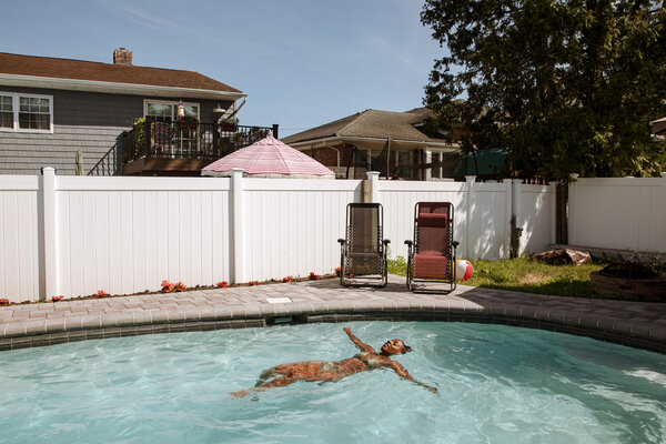 A pool in Woodmere, N.Y., last summer. About 96,000 pools were built in the country last year, according to a Goldman Sachs report.
