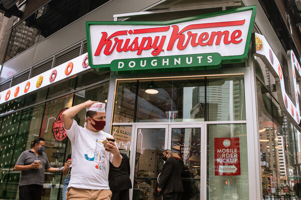 A Krispy Kreme store in Times Square.