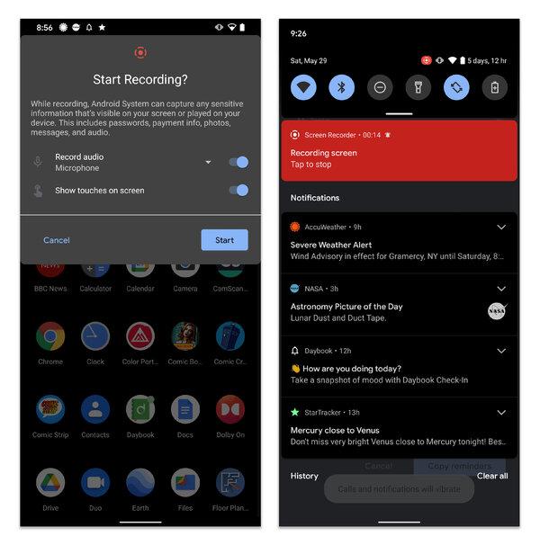Hızlı Ayarlar panelindeki Ekran Kaydedici düğmesine dokunarak bir ekran kaydı başlatın.  Bildirimler listesindeki kırmızı çubuğa dokunarak kaydı durdurun.