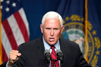 """Former Vice President Mike Pence speaking tonight in New Hampshire.""""It is past time for America to discard the left-wing myth of systemic racism,"""" Mr. Pence said at the event."""