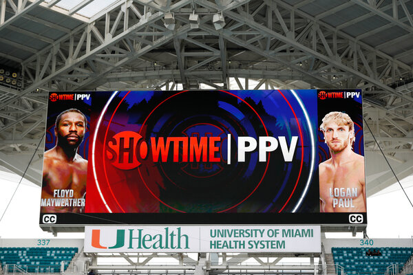 A large screen at Hard Rock Stadium promoted the bout.