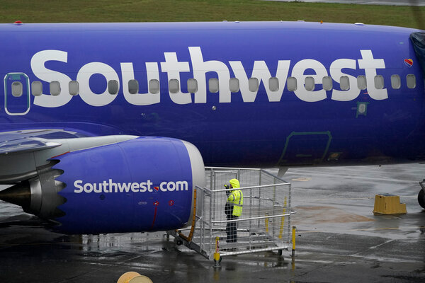 A Boeing 737 Max plane flown by Southwest Airlines. Southwest has ordered a total of 383 of the planes through 2031.