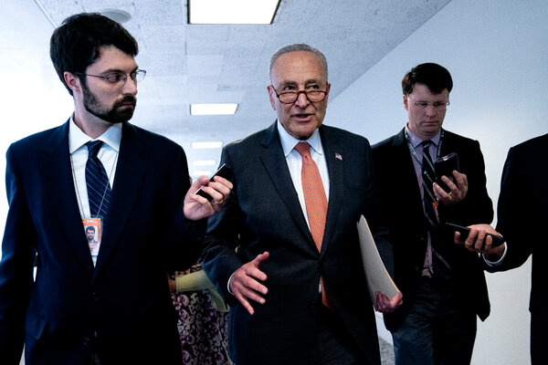 Senator Chuck Schumer, Democrat of New York and the majority leader, at the Hart Senate Office Building in Washington on Tuesday.